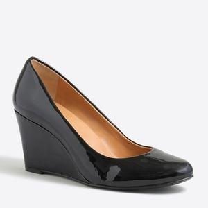 J. CREW NWOT Sylvia Patent Wedges Black Size 7.5